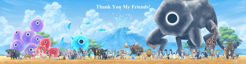 6+girls :d :o ;) ;d absurdres african_wild_dog african_wild_dog_(kemono_friends) african_wild_dog_print alpaca alpaca_ears alpaca_suri_(kemono_friends) american_beaver_(kemono_friends) animal animal_ears animal_on_head animal_on_shoulder animal_print antlers arabian_oryx_(kemono_friends) arm_at_side arm_hug arm_support arm_up armadillo armor aurochs aurochs_(kemono_friends) backpack bag bangs bare_legs bare_shoulders bear bear_ears bear_paw_hammer beaver beaver_ears beaver_tail bike_shorts bird bird_tail bird_wings biting black-tailed_prairie_dog_(kemono_friends) black_cerulean_(kemono_friends) black_eyes black_gloves black_hair black_legwear blonde_hair blue_eyes blue_sky bodystocking bow bowtie bra breast_pocket brown_bear_(kemono_friends) brown_coat brown_eyes buttons camouflage camouflage_shorts camouflage_skirt campo_flicker campo_flicker_(kemono_friends) cat cat_ears cat_tail cerulean_(kemono_friends) chameleon circlet clenched_hand closed_mouth clouds cloudy_sky coat commentary_request common_raccoon_(kemono_friends) cow_ears cow_tail crested_ibis crested_porcupine_(kemono_friends) crop_top cropped_shirt crossed_arms cup dark_skin day dog dog_ears dog_tail drill_hair drinking_glass elbow_gloves elbow_pads emperor_penguin_(kemono_friends) empty_eyes english_text eurasian_eagle_owl_(kemono_friends) everyone expressionless extra_ears eyebrows_visible_through_hair ezo_red_fox_(kemono_friends) fennec_(kemono_friends) fennec_fox fingerless_gloves flying fox fox_ears fox_tail frilled_sleeves frills full_body fur-trimmed_sleeves fur_collar fur_scarf fur_trim gentoo_penguin_(kemono_friends) giant giant_armadillo_(kemono_friends) giraffe giraffe_ears giraffe_horns giraffe_print giraffe_tail glasses gloves golden_snub-nosed_monkey golden_snub-nosed_monkey_(kemono_friends) grass green_hair grey_coat grey_eyes grey_hair grey_shirt grey_shorts grey_wolf_(kemono_friends) grin hair_between_eyes hair_bun hair_over_one_eye hand_on_another's_shoulder hand_on_hip hand_on_own_che