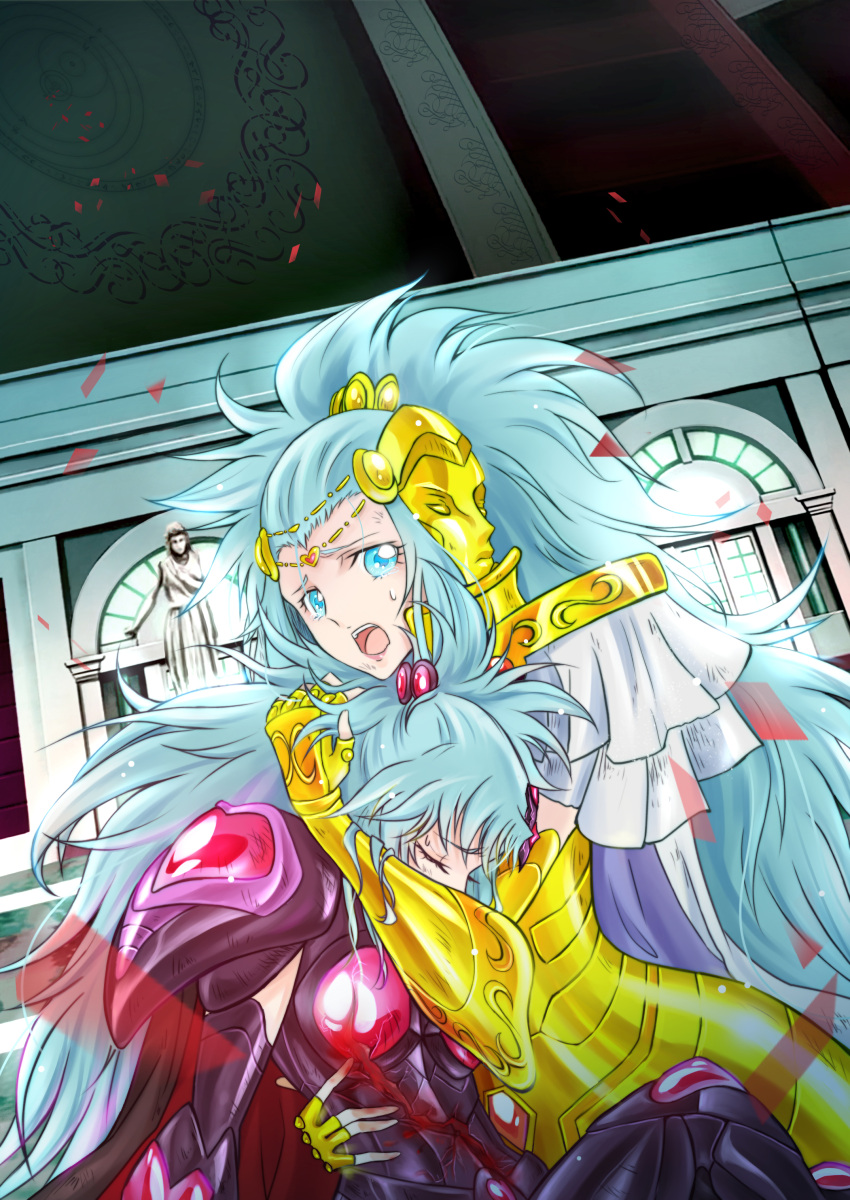 2girls :o absurdres armor blood blue_eyes blue_hair closed_eyes commentary_request crying crying_with_eyes_open fingerless_gloves gemini_integra gemini_paradox gloves gold_saint graphite_(medium) highres hug long_hair looking_at_viewer luode mask multiple_girls saint_seiya saint_seiya_omega siblings sisters tears traditional_media twins