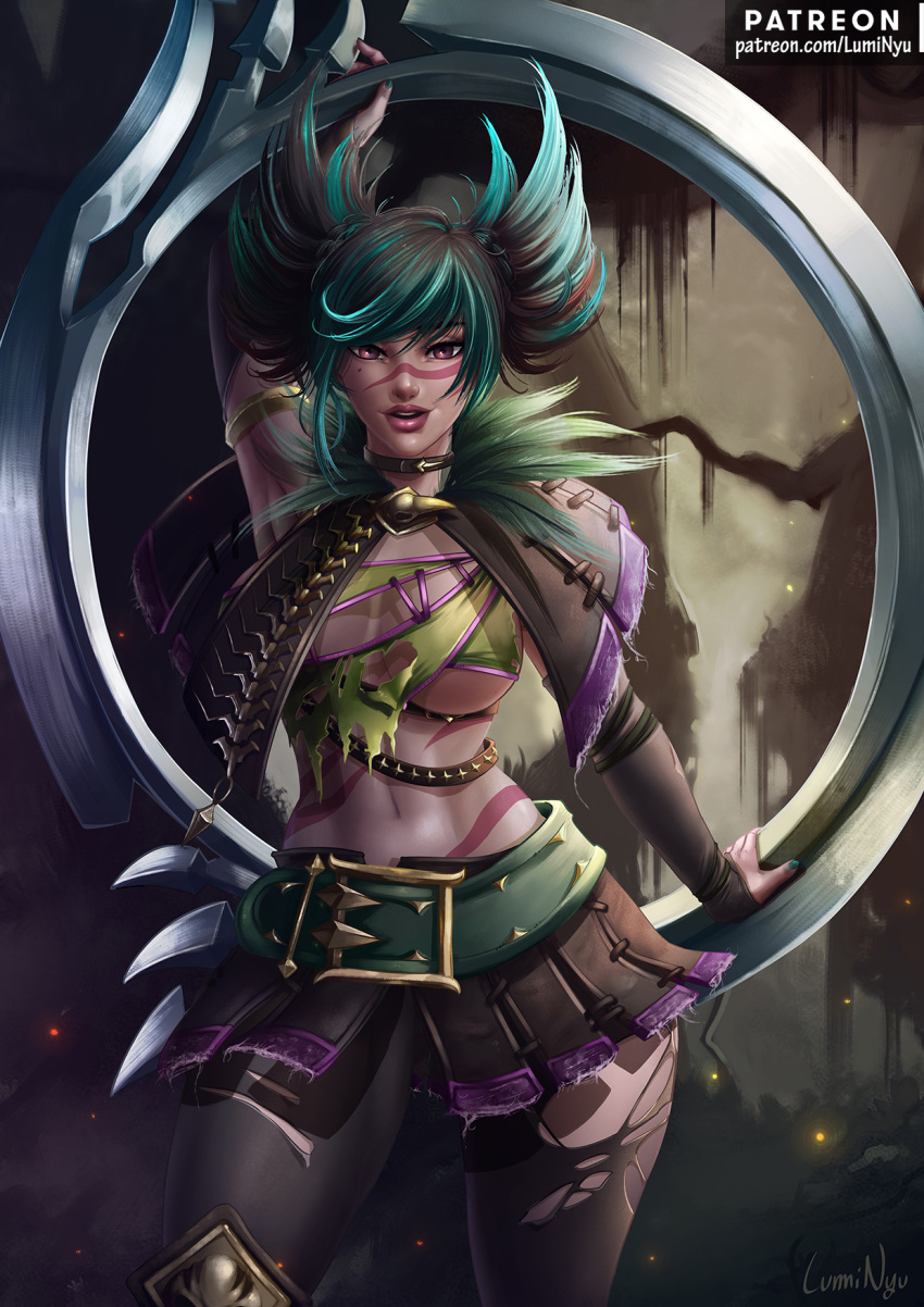 1girl artist_name asymmetrical_underboob belt breasts chakram choker feathers gauntlets green_hair highres large_breasts long_hair looking_at_viewer luminyu midriff miniskirt mole mole_under_eye multicolored_hair navel open_mouth pantyhose patreon_username pinup revealing_clothes scarf skirt solo soul_calibur stomach tattoo tira_(soulcalibur) torn_clothes torn_legwear twintails two-tone_hair under_boob upper_body weapon