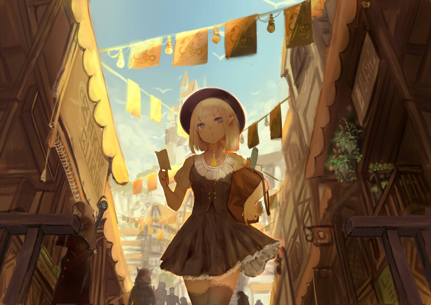 1girl 6+others animal_ears bad_perspective bag bird black_hat blonde_hair blue_eyes blush buttons carrot castle cloak corset cross flying food frilled_legwear frilled_skirt frills hat highres holding holding_bag lamppost looking_back multiple_others note open_mouth original paper plant pointy_ears pot potted_plant shiabisu shop short_hair sign silhouette skirt staff storefront thigh-highs vegetable walking