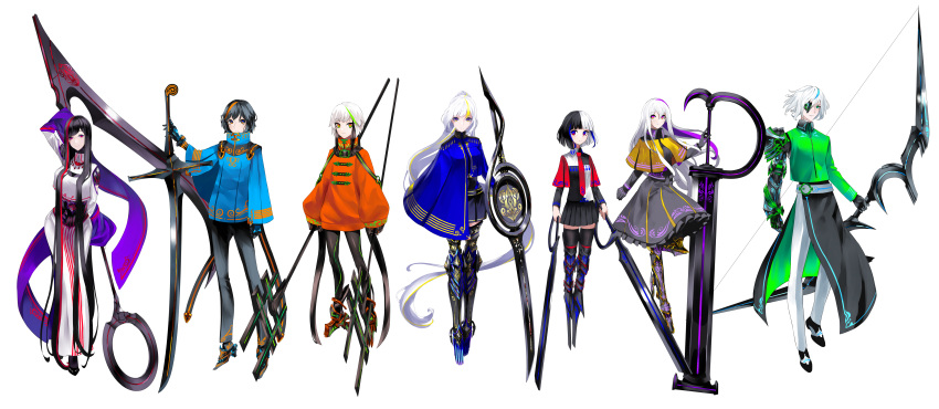 3boys 4girls absurdly_long_hair absurdres androgynous asymmetrical_clothes black_hair black_legwear black_pants blonde_hair blue_eyes blue_hair blue_jacket bow_(weapon) breasts capelet dress dual_wielding eighth_note expressionless eyebrows_visible_through_hair eyepatch flat_sign forte_(symbol) frilled_dress frills full_body gloves gold_trim green_eyes green_hair green_jacket high_collar highres holding holding_weapon huge_weapon jacket large_hands leggings light_smile lineup loafers long_hair looking_at_viewer mecha_danshi mecha_musume multicolored multicolored_eyes multicolored_hair multiple_boys multiple_girls musical_note necktie neon_trim orange_eyes orange_hair orange_jacket original pants piano_(symbol) ponytail prosthesis prosthetic_arm prosthetic_leg purple_hair quarter_note red_eyes redhead scythe sharp_sign shoes short_hair shoulder_cutout skirt small_breasts staff straight_hair streaked_hair sword thigh-highs treble_clef tsuki-shigure very_long_hair violet_eyes weapon white_background white_hair white_pants wide_sleeves yellow_eyes