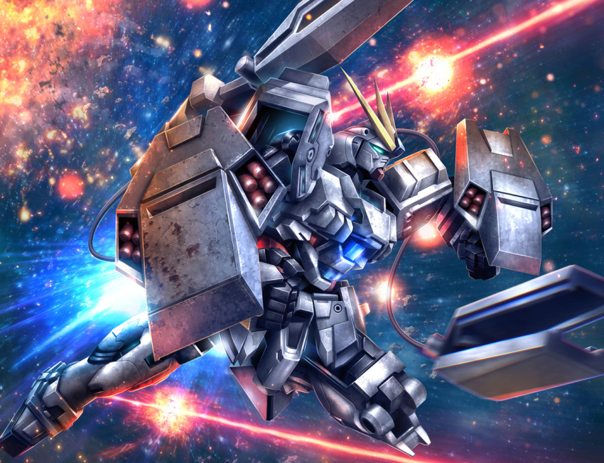 beam clenched_hands dashing explosion funnels gundam gundam_narrative hiropon_(tasogare_no_puu) mecha missile_pod narrative_gundam_b-packs shield space thrusters