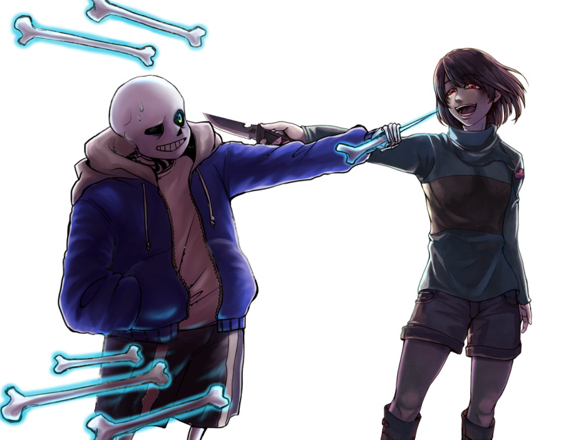 1boy androgynous bone chara_(undertale) evil_smile holding holding_knife hood hoodie knife monster_boy sans shirt shousan_(hno3syo) skeleton smile source_request striped striped_shirt striped_sweater sweater undertale