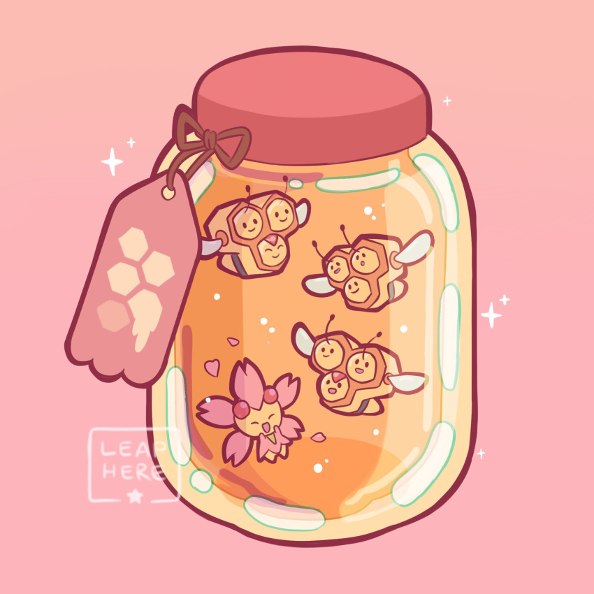 cherrim combee commentary creatures_(company) english_commentary game_freak gen_4_pokemon heart highres honey jar nintendo no_humans open_mouth petals pink_background pokemon pokemon_(creature) simple_background smile sparkle yamato-leaphere