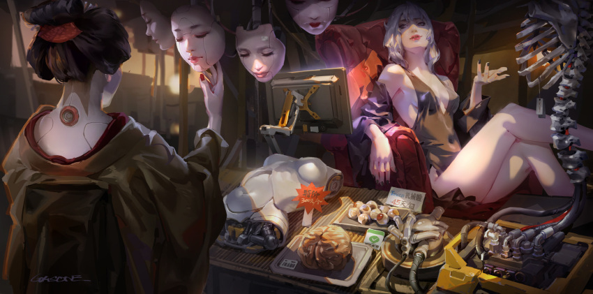 1girl bare_shoulders breasts chair cleavage fingernails highres looking_at_another original parted_lips shengyi_sun sitting table