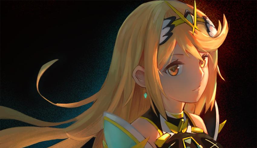 1girl armor bangs blonde_hair dress earrings gem headpiece hikari_(xenoblade_2) jewelry kiiro_kimi long_hair looking_at_viewer nintendo solo swept_bangs tiara xenoblade_(series) xenoblade_2 yellow_eyes