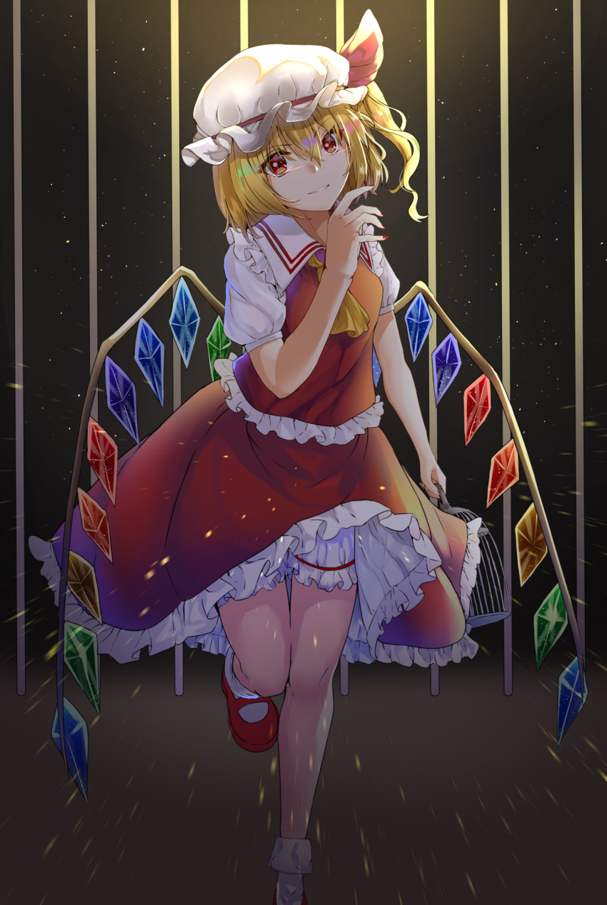 1girl anemone_noa ascot bangs bars birdcage black_background blonde_hair bloomers breasts cage commentary crystal eyebrows_visible_through_hair feet_out_of_frame flandre_scarlet frilled_shirt_collar frills grin hair_between_eyes hand_up hat hat_ribbon highres holding light_particles looking_at_viewer mary_janes medium_breasts mob_cap nail_polish one_side_up petticoat red_eyes red_footwear red_nails red_ribbon red_skirt red_vest ribbon shirt shoes short_hair skirt skirt_set smile socks solo standing standing_on_one_leg thighs touhou underwear vest white_bloomers white_hat white_legwear white_shirt wings yellow_neckwear