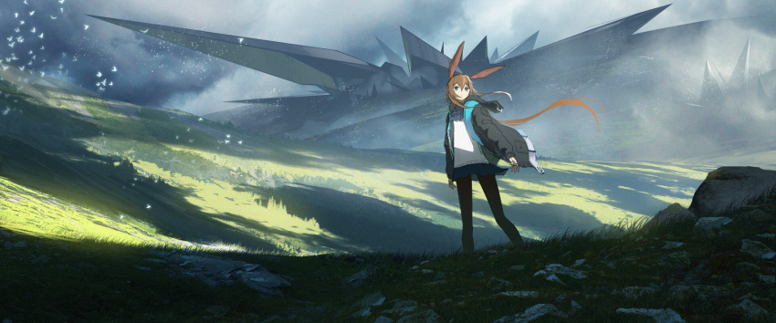 1girl amiya_(arknights) animal_ears arknights asteroid_ill black_legwear blue_eyes brown_hair commentary field grass highres jacket landscape letterboxed long_hair nature outdoors pantyhose rabbit_ears scenery solo standing