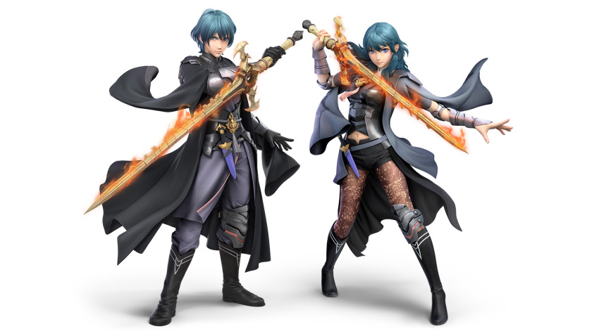1boy 1girl 3d arm_guards black_footwear black_gloves boots brother_and_sister byleth_(fire_emblem) byleth_(fire_emblem)_(female) byleth_(fire_emblem)_(male) dagger dual_persona female_my_unit_(fire_emblem:_fuukasetsugetsu) fire_emblem fire_emblem:_fuukasetsugetsu fire_emblem:_three_houses fire_emblem_16 flaming_sword flaming_weapon gloves green_hair highres intelligent_systems knee_brace legwear_under_shorts looking_at_viewer male_my_unit_(fire_emblem:_fuukasetsugetsu) midriff my_unit_(fire_emblem:_fuukasetsugetsu) navel nintendo official_art open_hand pantyhose patterned_clothing serious sheath sheathed short_hair shorts siblings simple_background sora_(company) standing stomach super_smash_bros. super_smash_bros._ultimate super_smash_bros_brawl sword sword_of_the_creator weapon white_background