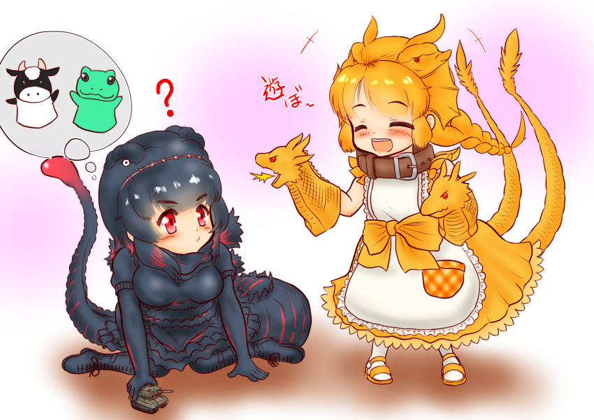 +++ 2girls :/ ? ^_^ apron arm_support bangs black_hair blush bow braid chibi closed_eyes closed_eyes closed_mouth collar commentary_request dog_collar dress eyebrows_visible_through_hair frills full_body gloves godzilla godzilla_(series) hair_ornament hairband hakumaiya hand_puppet highres kemono_friends king_ghidorah long_dress long_hair looking_at_another medium_hair multicolored_hair multiple_girls multiple_tails open_mouth orange_hair parted_bangs personification pocket puppet red_eyes redhead shin_godzilla short_sleeves single_braid sitting smile standing tail thought_bubble toy toy_tank two-tone_hair two_tails wariza |d