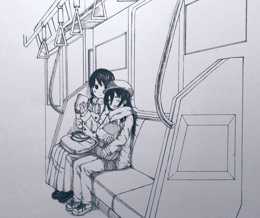 2girls bag black_eyes black_hair blush character_request closed_eyes copyright_request eyebrows_visible_through_hair greyscale ground_vehicle hair_between_eyes hat highres hiroiki leaning long_skirt long_sleeves monochrome multiple_girls open_mouth scarf sitting skirt sleeping train train_interior yuri