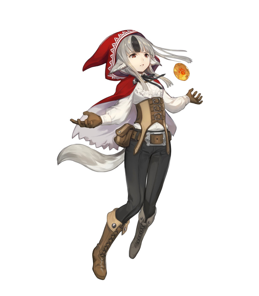 1girl animal_ears bangs belt belt_pouch black_hair boots bow bowtie fire_emblem fire_emblem_heroes fire_emblem_if frills gloves grey_hair highres hood kawasumi_mahiro long_hair long_sleeves multicolored_hair nintendo official_art pants pouch shirt solo tail transparent_background velour_(fire_emblem_if) white_shirt wolf_ears wolf_tail
