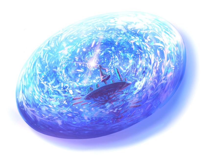 1girl arm_up blue commentary dress dutch_angle fantasy light_particles long_hair magic original sakimori_(hououbds) solo