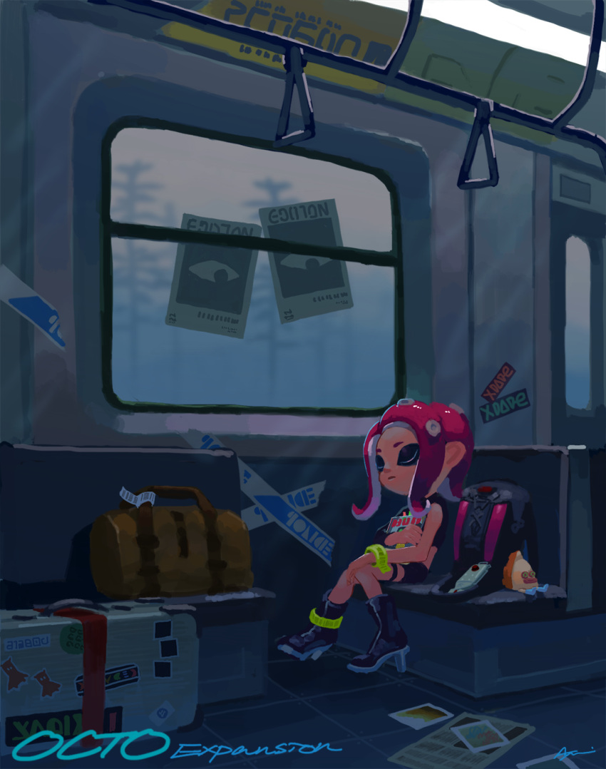 1girl agent_8 ayumi_(830890) bag black_footwear black_skirt boots closed_eyes closed_mouth duffel_bag full_body hand_grip high_heel_boots high_heels highres ink_tank_(splatoon) knees_together_feet_apart long_hair magazine miniskirt octarian octoling octotrooper pink_hair poster_(object) signature single_sleeve sitting skirt sleeping sleeping_upright solo splatoon splatoon_(series) splatoon_2 splatoon_2:_octo_expansion stuffed_toy suction_cups tentacle_hair thigh_strap train_interior wristband