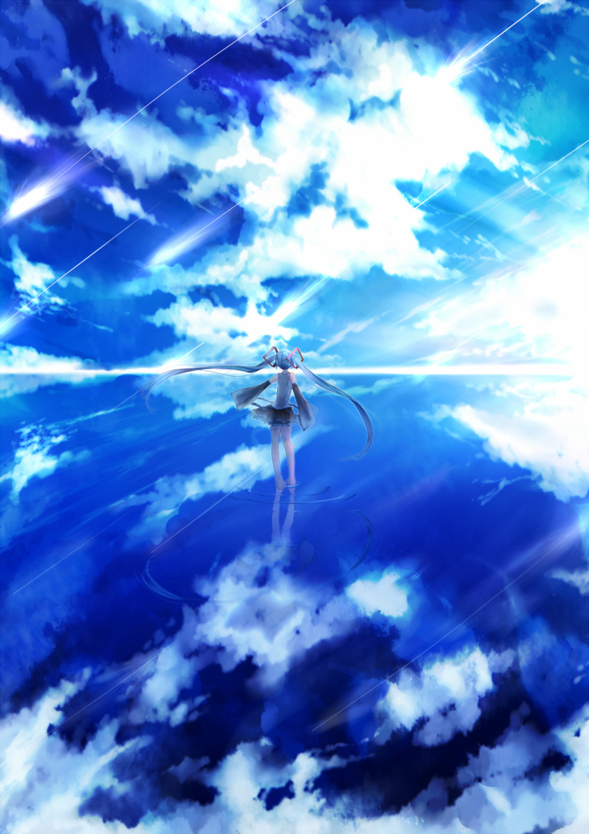 1girl belt blue blue_hair blue_sky clouds cloudy_sky commentary detached_sleeves from_behind full_body hair_ornament hatsune_miku highres long_hair looking_away namikaze_bon ocean outstretched_arm reflection scenery seascape shirt shooting_star skirt sky sleeveless sleeveless_shirt solo standing standing_on_liquid twintails very_long_hair vocaloid water