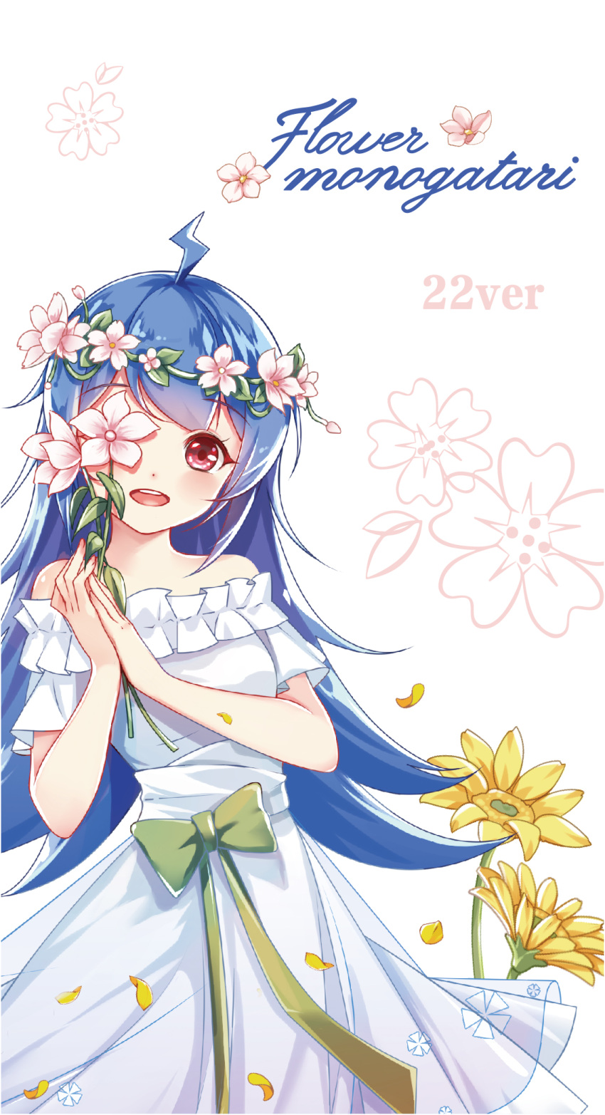 1girl :d ahoge bare_shoulders bili_girl_22 bilibili_douga blue_hair blush bow clouble dress english_text flower flower_wreath green_bow head_tilt head_wreath highres holding holding_flower one_eye_covered open_mouth petals pink_flower red_eyes romaji_text round_teeth short_sleeves simple_background smile solo strapless strapless_dress teeth upper_teeth white_background white_dress yellow_flower