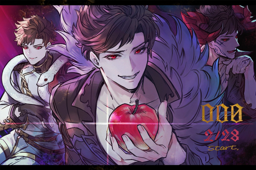 3boys belial_(granblue_fantasy) black_hair black_sclera body_markings facial_mark fingerless_gloves gloves granblue_fantasy horns licking_lips looking_at_viewer male_focus military military_uniform minaba_hideo multiple_boys multiple_persona official_art red_eyes snake tongue tongue_out uniform