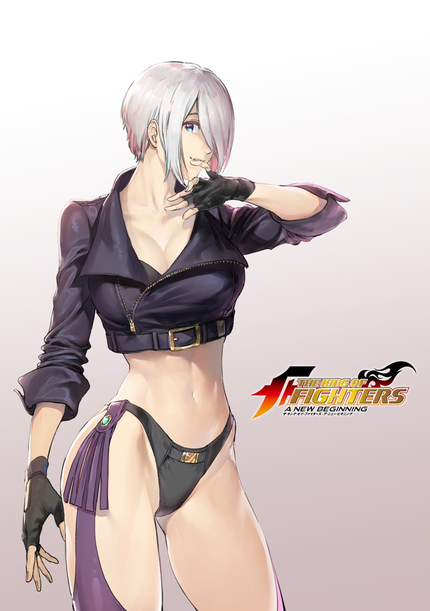 abs angel_(kof) azuma_kyoutarou_(artist) bikini_bottom black_bikini_bottom blue_eyes breasts check_commentary cleavage commentary_request cropped_jacket gloves hair_over_one_eye highres hip_focus large_breasts legs logo looking_at_viewer midriff official_art pants short_hair sidelocks snk the_king_of_fighters the_king_of_fighters:_a_new_beginning the_king_of_fighters_xiv toned