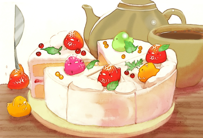 bird cake chai commentary_request cream cup food fruit fruit_tart highres knife leaf looking_at_viewer no_humans orange original plate raspberry sitting sitting_on_food sparkle strawberry tart_(food) tea teacup teapot