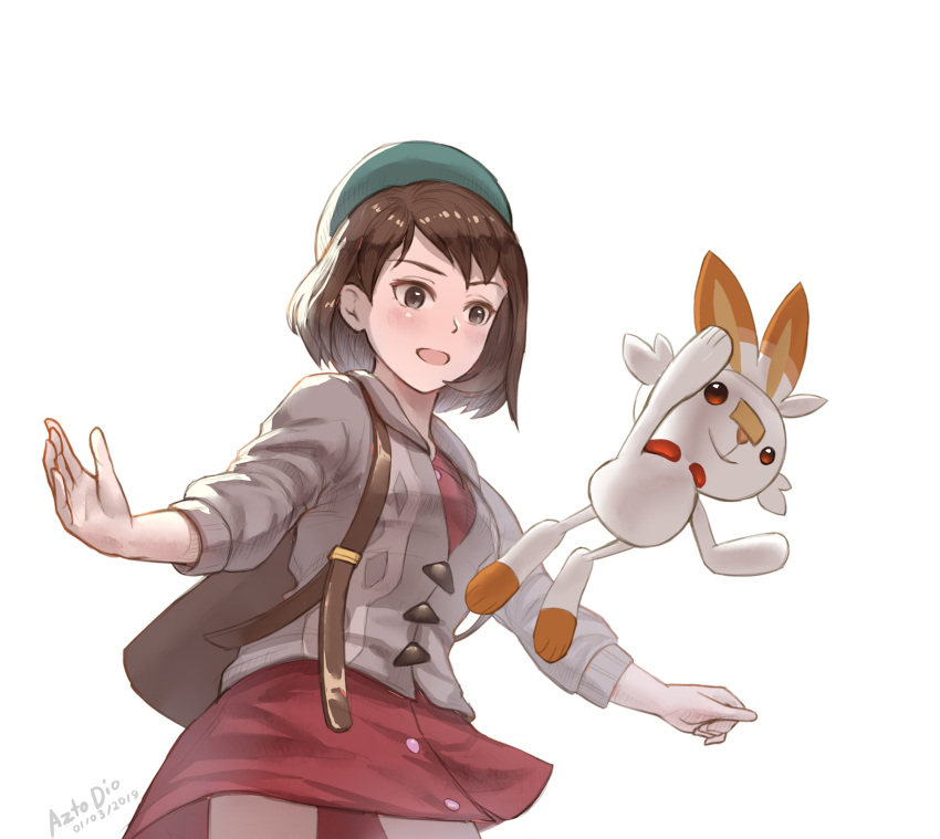 1girl artist_name azto_dio backpack bag brown_eyes brown_hair creatures_(company) dated dress female_protagonist_(pokemon_swsh) game_freak gen_8_pokemon green_hat hat highres hood hooded_sweater long_sleeves nintendo open_mouth outstretched_arms pokemon pokemon_(creature) pokemon_(game) pokemon_swsh scorbunny short_hair simple_background spread_arms sweater tam_o'_shanter white_background