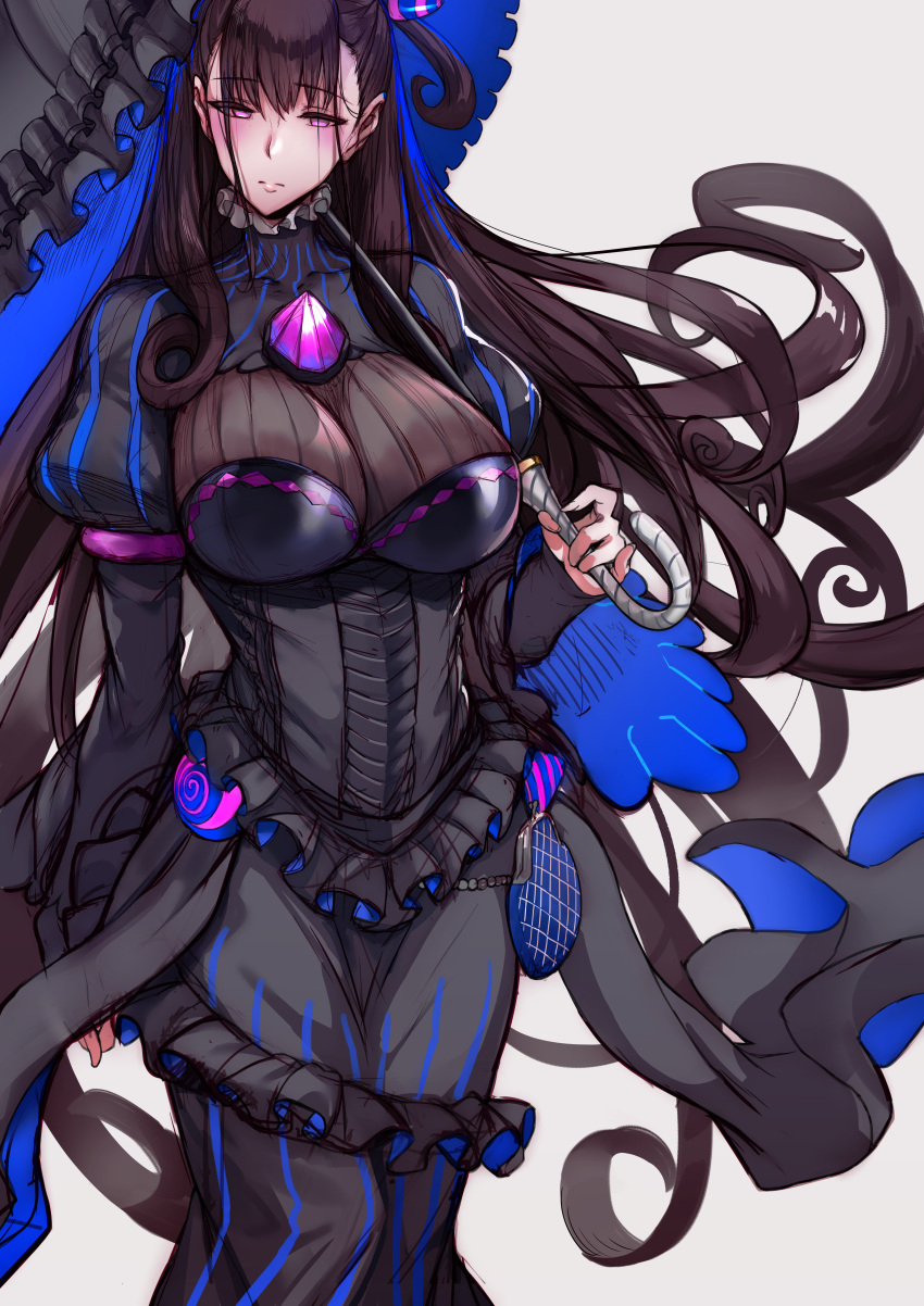 1girl absurdres bad_id bad_twitter_id bangs black_dress black_hair blush breasts closed_mouth commentary_request dress fate/grand_order fate_(series) frilled_shirt_collar frills hair_between_eyes hews_hack highres huge_filesize juliet_sleeves large_breasts long_hair long_sleeves looking_at_viewer murasaki_shikibu_(fate) pouch puffy_sleeves simple_background solo umbrella very_long_hair violet_eyes white_background