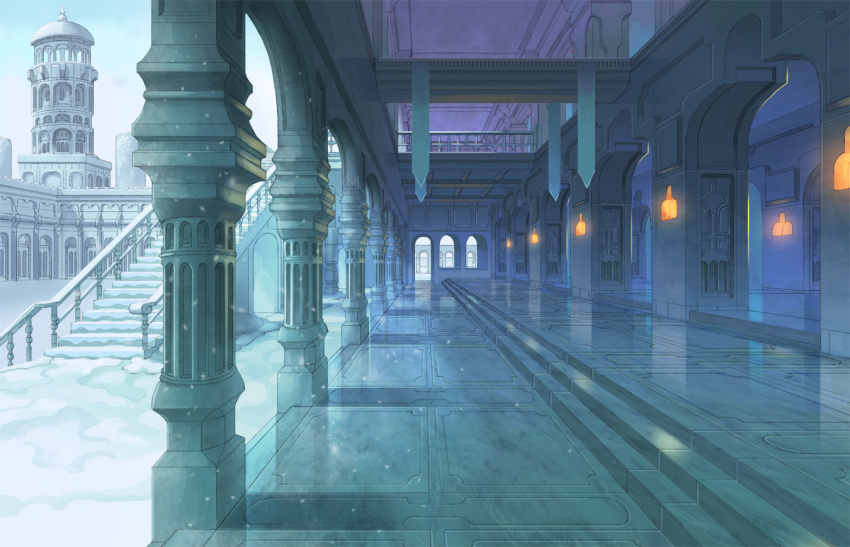 architecture banner blue castle city column fantasy muted_color nagi_itsuki no_humans original pillar pixiv_fantasia_last_saga railing scenery shadow snow stairs tower winter