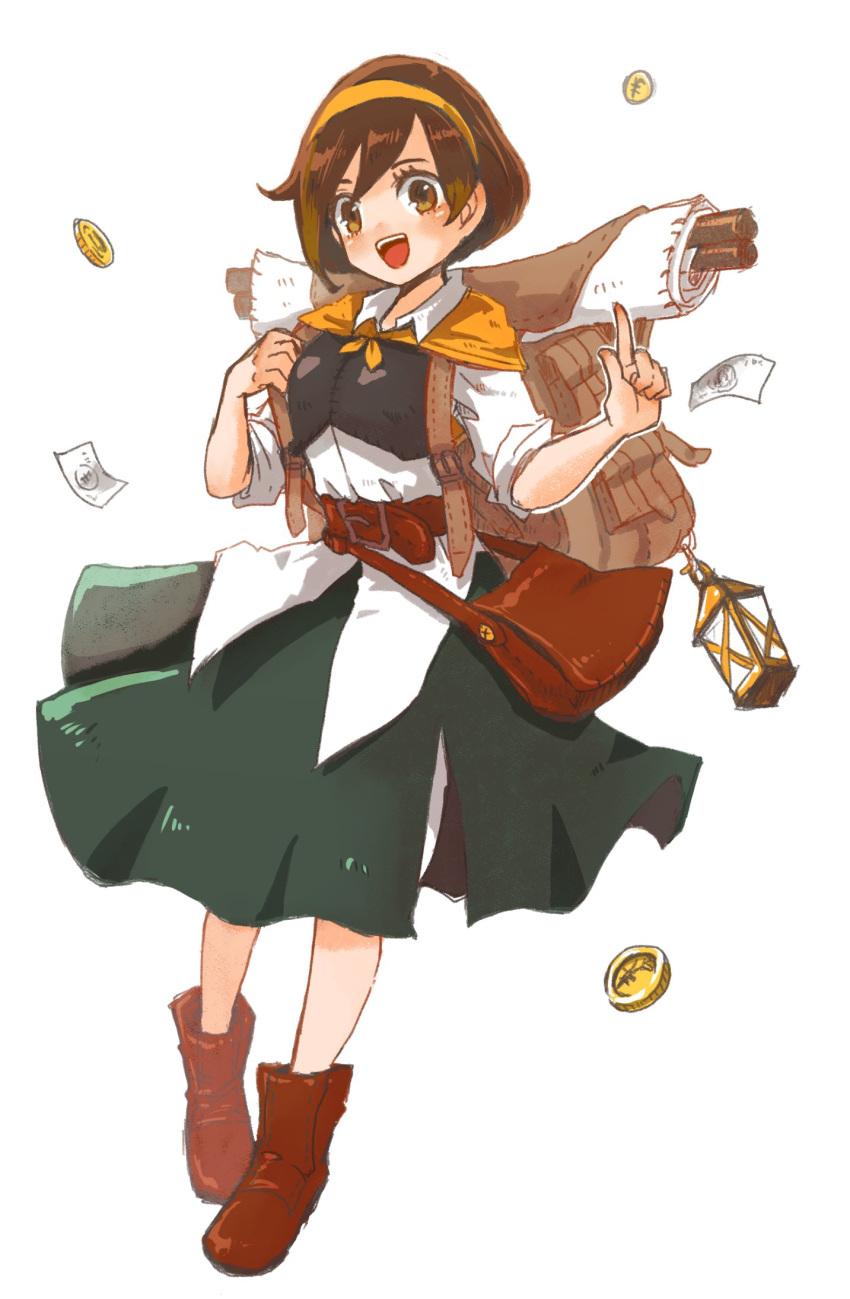 1girl bag blush brown_eyes brown_hair coin cosplay creatures_(company) dress female_protagonist_(pokemon_swsh) game_freak hanimitsu_(bisko) hat highres jewelry looking_at_viewer nintendo octopath_traveler open_mouth pokemon pokemon_(game) pokemon_swsh short_hair simple_background smile solo tressa_(octopath_traveler) tressa_(octopath_traveler)_(cosplay)