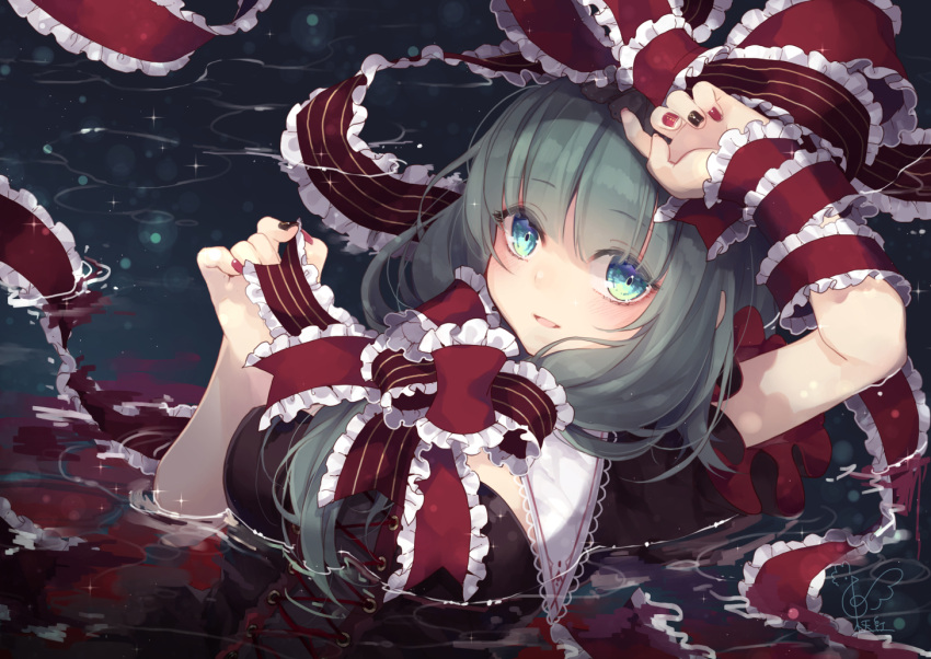 1girl aqua_eyes arm_up black_dress black_nails breasts commentary_request dress frilled_ribbon frills front_ponytail green_hair hand_up kagiyama_hina large_breasts lens_flare long_hair looking_at_viewer nail_polish parted_lips partially_submerged puffy_short_sleeves puffy_sleeves red_nails red_ribbon ribbon short_sleeves smile solo sparkle touhou toutenkou upper_body water wrist_ribbon