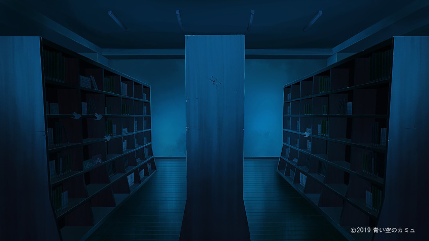blue book bookshelf commission copyright_request highres indoors kyarage_(soda) night no_humans scenery watermark
