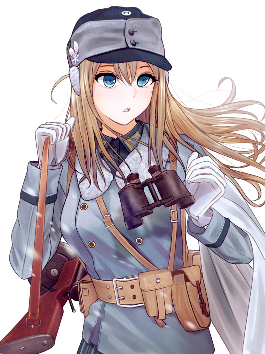 1girl binoculars blonde_hair blue_eyes earmuffs girls_frontline gloves gun hat highres load_bearing_equipment long_hair military military_hat military_uniform solo submachine_gun suomi_kp/-31 suomi_kp31_(girls_frontline) testame uniform weapon white_background