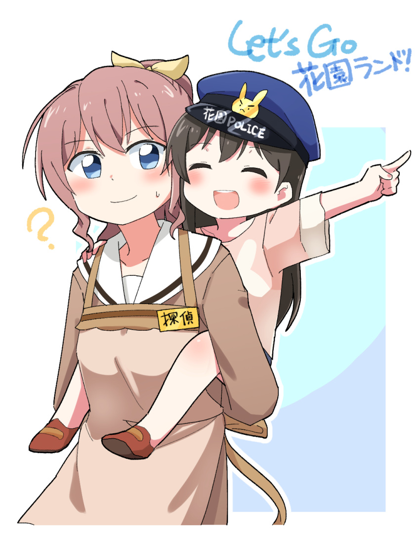 2girls :d ? ^_^ apron bang_dream! bangs black_hair blue_eyes brown_apron brown_dress brown_footwear brown_hair carrying child closed_eyes closed_eyes commentary_request dress gyaheung hair_ribbon hanazono_tae hand_on_another's_shoulder hat highres long_sleeves multiple_girls name_tag open_mouth outline piggyback pink_shirt pointing police_hat ponytail ribbon sailor_dress shirt short_sleeves sidelocks smile sweatdrop time_paradox translation_request upper_body white_outline yamabuki_saaya yellow_ribbon younger