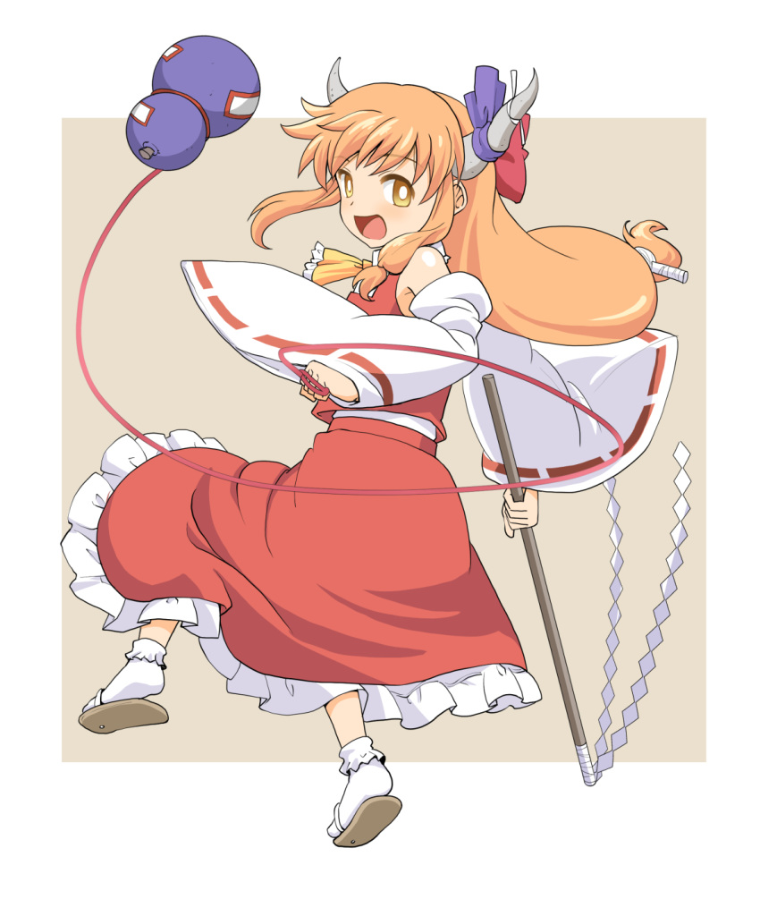 1girl ascot blonde_hair commentary_request cosplay detached_sleeves eyebrows_visible_through_hair gohei gourd hakurei_reimu hakurei_reimu_(cosplay) haniwa_(leaf_garden) highres horn_ribbon horns ibuki_suika long_hair looking_at_viewer low_ponytail nontraditional_miko open_mouth ribbon sandals shide skirt smile solo tabi touhou wide_sleeves yellow_eyes