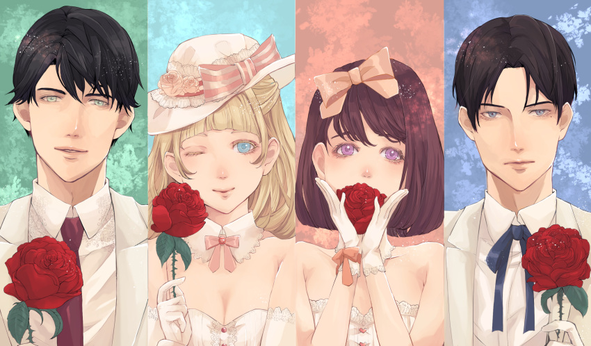 2boys 2girls :| ;) arikawa_anri bangs bare_shoulders black_hair blonde_hair blue_ribbon blunt_bangs bow breasts brown_hair cleavage closed_mouth detached_collar dress flower formal gloves green_eyes hand_up hands_up hat hat_bow hat_flower heart highres lace looking_at_viewer maroon_neckwear mole mole_under_eye multiple_boys multiple_girls necktie one_eye_closed original parted_bangs pink_bow pink_ribbon red_flower ribbon rose small_breasts smile striped striped_bow suit violet_eyes white_dress white_gloves white_hat white_suit