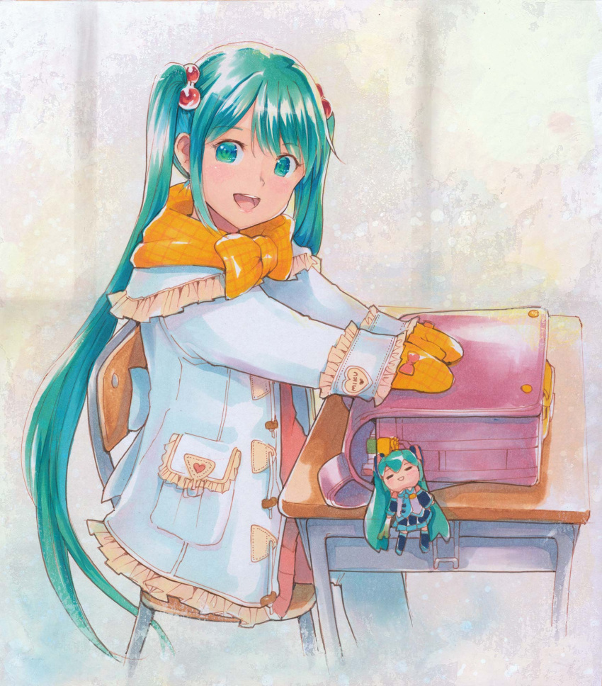 1girl :d aqua_hair backpack backpack_removed bag bow classroom coat desk eyebrows_visible_through_hair floating_hair flower frills from_side green_eyes hair_bobbles hair_ornament hatsune_miku highres indoors long_hair looking_at_viewer marker_(medium) mayo_riyo mittens open_mouth red_sweater scarf shiny shiny_hair sitting smile solo sweater traditional_media twintails very_long_hair vocaloid white_coat white_legwear winter_clothes winter_coat yellow_bow yellow_flower yellow_scarf younger