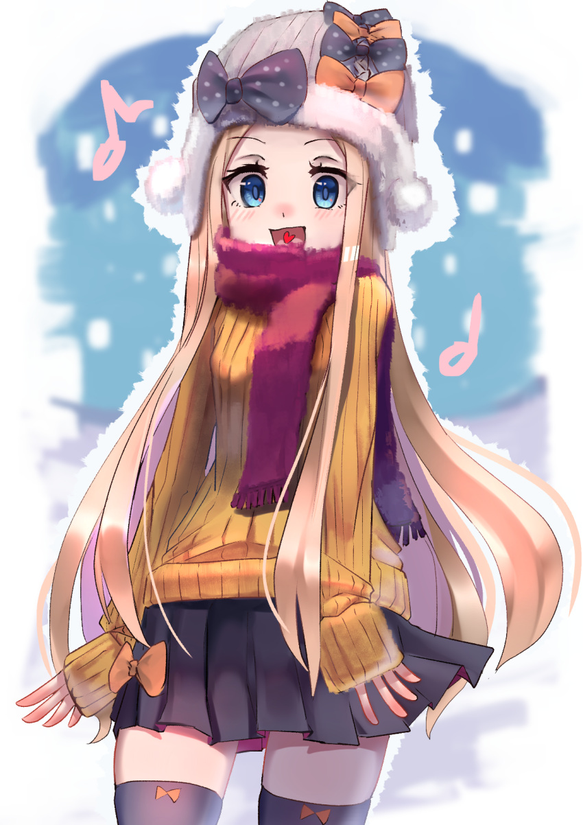 1girl :d abigail_williams_(fate/grand_order) alternate_costume bangs beanie black_bow black_legwear black_skirt blonde_hair blue_eyes blush bow breasts brown_sweater commentary_request eighth_note eyebrows_visible_through_hair fate/grand_order fate_(series) forehead fringe_trim hat hat_bow heart heart_in_mouth highres long_hair long_sleeves musical_note nakasaku-p open_mouth orange_bow parted_bangs pleated_skirt polka_dot polka_dot_bow red_scarf ribbed_sweater scarf skirt sleeves_past_wrists small_breasts smile solo sweater thigh-highs very_long_hair white_hat