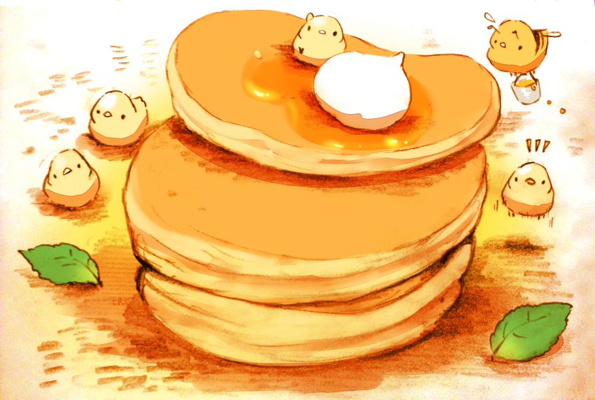 5others bee bird bucket bug chai commentary_request cream food head_tilt highres honey insect leaf looking_at_viewer multiple_others notice_lines original pancake sitting_on_food