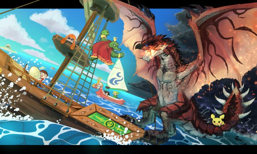 >_< 1girl 2boys 4others animal_crossing:_city_folk bird boat box capcom cardboard_box child claws creatures_(company) crocodilian dog dog_(duck_hunt) donkey_kong_(series) donkey_kong_country doubutsu_no_mori dragon duck duck_(duck_hunt) duck_hunt egg fire game_&_watch game_freak gen_2_pokemon giant_monster highres human hylian inkling ippers king_k._rool konami lightning link mast metal_gear_(series) metal_gear_solid monster_hunter mouse mr._game_&_watch nintendo nintendo_ead ocean oideyo!_doubutsu_no_mori open_mouth pichu pokemon pokemon_(creature) pokemon_gsc pokemon_hgss rareware rathalos retro_studios sail ship sora_(company) spiked_tail splatoon_(series) squid_girl storm_cloud super_smash_bros. super_smash_bros._ultimate super_smash_bros_brawl tail the_legend_of_zelda the_legend_of_zelda:_the_wind_waker toon_link water watercraft wings