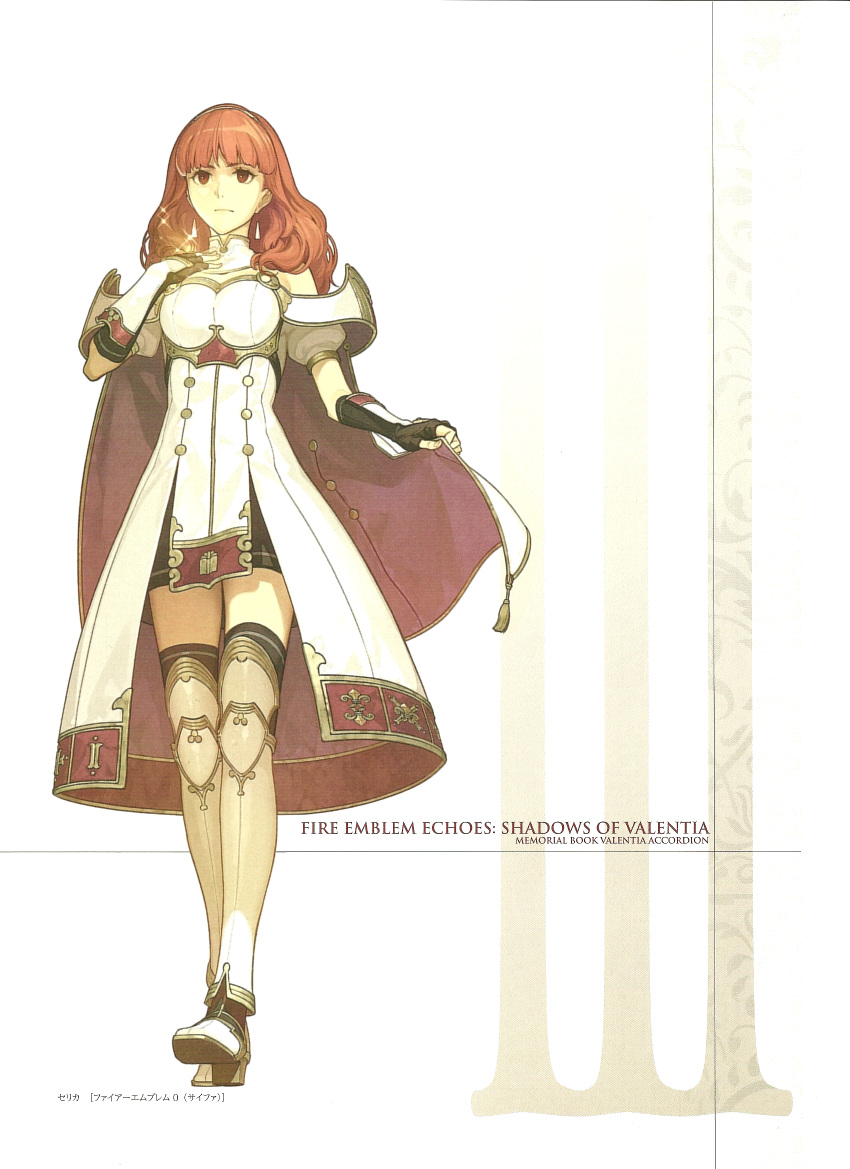 1girl armor cape celica_(fire_emblem) dress earrings fingerless_gloves fire_emblem fire_emblem_echoes:_mou_hitori_no_eiyuuou full_body gloves hidari_(left_side) highres jewelry long_hair nintendo non-web_source official_art red_eyes redhead simple_background solo thigh-highs