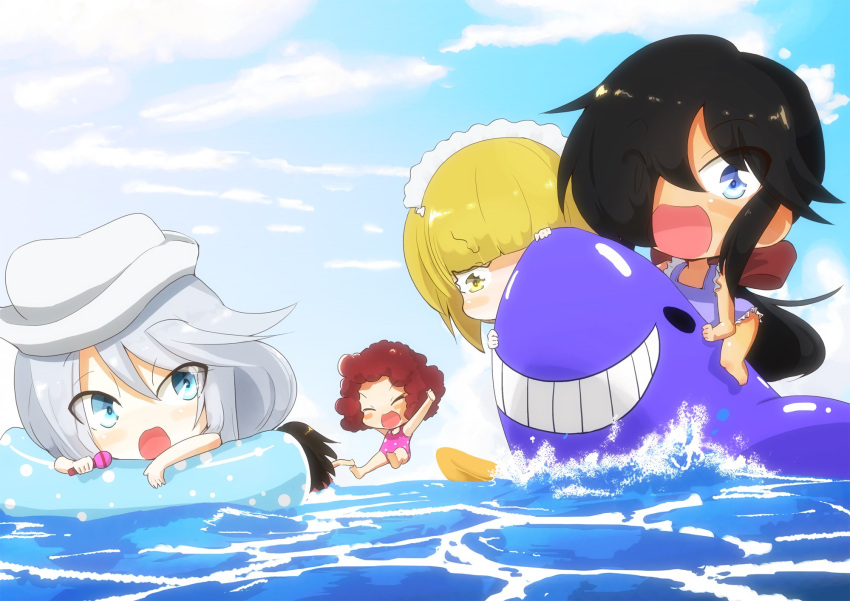 5girls :d arms_up bangs barefoot black_hair blue_eyes blue_sky blush_stickers child closed_eyes clouds cloudy_sky commentary curly_hair cutlass_(girls_und_panzer) day dixie_cup_hat eyebrows_visible_through_hair flint_(girls_und_panzer) girls_und_panzer hair_over_one_eye hair_ribbon hat highres holding holding_microphone inflatable_shark inflatable_toy innertube jinguu_(4839ms) jumping long_hair looking_at_another looking_at_viewer maid_headdress microphone military_hat multiple_girls murakami_(girls_und_panzer) ocean ogin_(girls_und_panzer) one-piece_swimsuit open_mouth outdoors pink_swimsuit ponytail purple_swimsuit red_ribbon redhead ribbon rum_(girls_und_panzer) scared short_hair silver_hair sky smile splashing swimsuit trembling white_hat younger