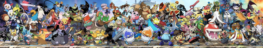alternate_color alternate_costume animal_ears ape ape_(company) artist_request atlus bandai blastoise blaziken blonde_hair bowser bowser_jr. braixen buster_sword capcom captain_falcon castlevania castlevania:_rondo_of_blood cat_ears charizard cloud_strife cosplay creatures_(company) dark_samus decidueye diddy_kong diglett dinosaur dog dog_ears dog_girl dog_tail donkey_kong donkey_kong_(series) donkey_kong_country doubutsu_no_mori dougi dr.mario eevee f-zero facial_hair falco_lombardi final_fantasy final_fantasy_vii final_fantasy_vii_advent_children fire_emblem fire_emblem:_kakusei fire_emblem:_souen_no_kiseki fire_emblem_heroes fox fox_mccloud gallade game_freak ganondorf gardevoir gen_1_pokemon gen_2_pokemon gen_3_pokemon gen_4_pokemon gen_5_pokemon gen_6_pokemon gen_7_pokemon goddess hal_laboratory_inc. hat helmet highres hoshi_no_kirby ice_climber ice_climbers ike inkling intelligent_systems jigglypuff ken_masters kid_icarus kid_icarus_uprising king_dedede king_k._rool kirby kirby_(series) konami krom link little_mac lizard long_image lopunny lucario lucas lucina luigi mario mario_(series) master_sword mega_gardevoir mega_pokemon meta_knight metal_gear_(series) metroid mimikyu monado monkey monolith_soft mother_(game) mother_2 mother_3 mr._game_&_watch multiple_boys multiple_girls mustache my_unit_(fire_emblem:_kakusei) namco nana_(ice_climber) ness nintendo olimar overalls pac-man pac-man_(game) palutena parody pichu pikachu pikmin_(creature) pikmin_(series) piranha_plant pit_(kid_icarus) pokemon pokemon_(creature) pokemon_(game) pokemon_dppt pokemon_oras pokemon_sm pokemon_xd pokemon_xy popo_(ice_climber) princess_daisy princess_peach princess_zelda r.o.b redhead richter_belmondo ridley rockman rockman_(character) rockman_(classic) rosetta_(mario) ryuu_(street_fighter) samus_aran sega sheik shield shiny_pokemon shizue_(doubutsu_no_mori) shulk simon_belmondo smile snake solid_snake sonic sonic_the_hedgehog sora_(company) spikes splatoon_(series) square_enix squirtle star_fox street_fighter super_mario_bros. super_mario_galaxy super_smash_bros. super_smash_bros._ultimate super_smash_bros_64 super_smash_bros_brawl super_smash_bros_for_wii_u_and_3ds super_smash_bros_melee tail the_legend_of_zelda the_legend_of_zelda:_breath_of_the_wild the_legend_of_zelda:_ocarina_of_time tiara toon_link topknot villager_(doubutsu_no_mori) wario warioware wide_image wii_fit wii_fit_trainer wings xenoblade_(series) xenoblade_1 yoshi young_link zeld