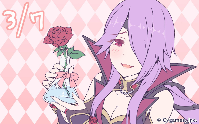 1girl bare_shoulders breasts bridal_gauntlets cleavage cleavage_cutout cygames flower hair_over_one_eye highres official_art one_eye_covered princess_connect! princess_connect!_re:dive purple_hair red_eyes rose yoigahama_mitsuki