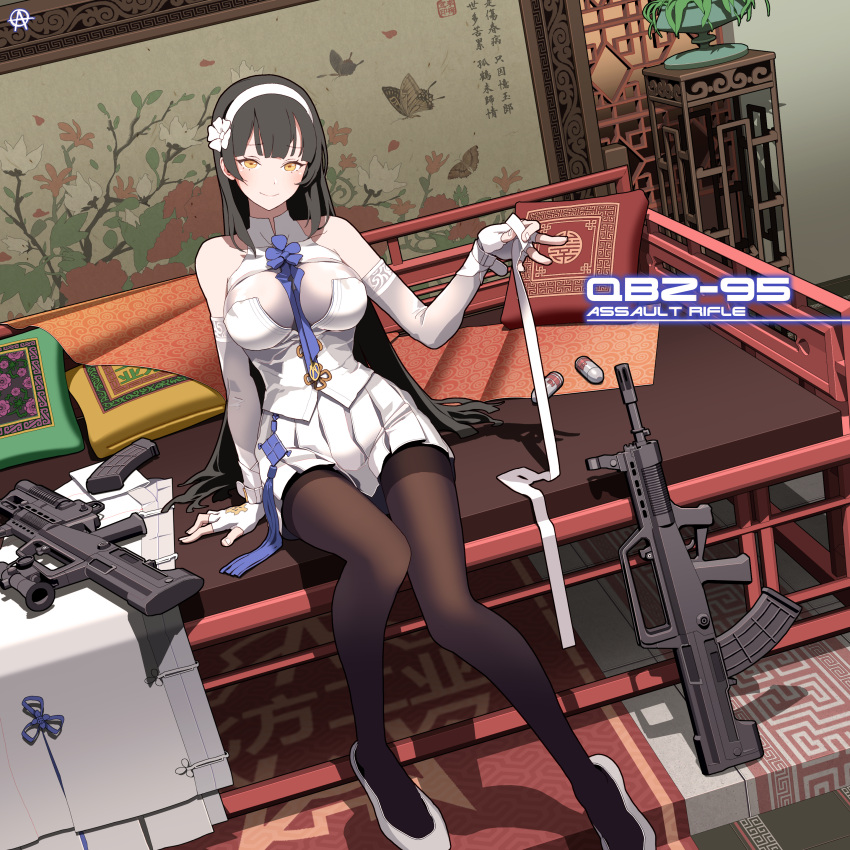 1girl absurdres arm_support assault_rifle bangs between_breasts black_hair black_legwear blue_neckwear blush breasts bullpup cape cape_removed character_name circle_a cleavage closed_mouth commentary_request dot_nose explosive eyebrows_visible_through_hair fingerless_gloves flower girls_frontline gloves grenade grenade_launcher gun hair_flower hair_ornament hairband head_tilt highres holding holding_ribbon indoors large_breasts lattice long_hair looking_at_viewer necktie necktie_between_breasts pale_skin pantyhose pillow plant pleated_skirt potted_plant pumps qbz-95 qbz-95_(girls_frontline) ribbon rifle shirt signature sitting skirt smile solo very_long_hair weapon white_footwear white_gloves white_hairband white_ribbon white_shirt white_skirt wrist_straps yellow_eyes