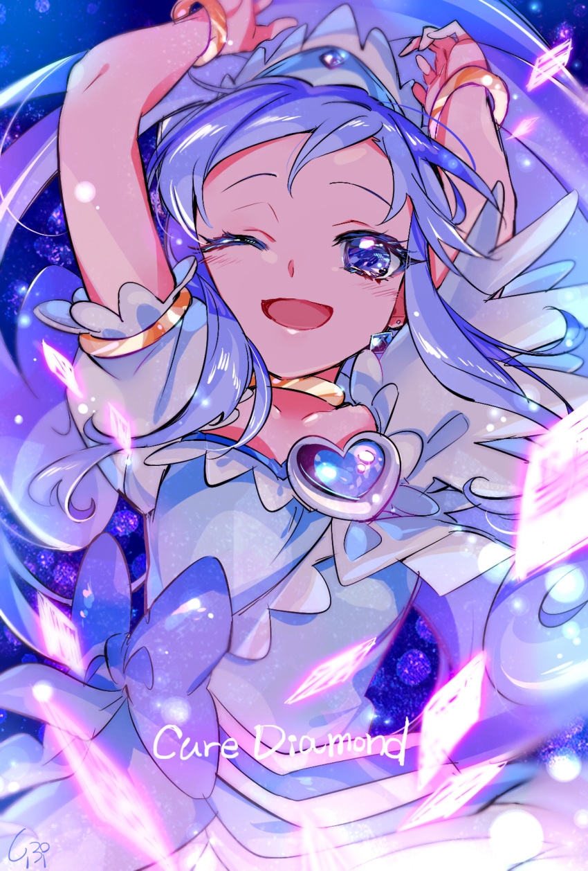 1girl ;d arms_up blue blue_background blue_bow blue_eyes blue_hair bow character_name choker cure_diamond dokidoki!_precure earrings highres hishikawa_rikka jewelry long_hair looking_at_viewer magical_girl one_eye_closed open_mouth precure shipu_(gassyumaron) signature smile solo upper_body yellow_neckwear