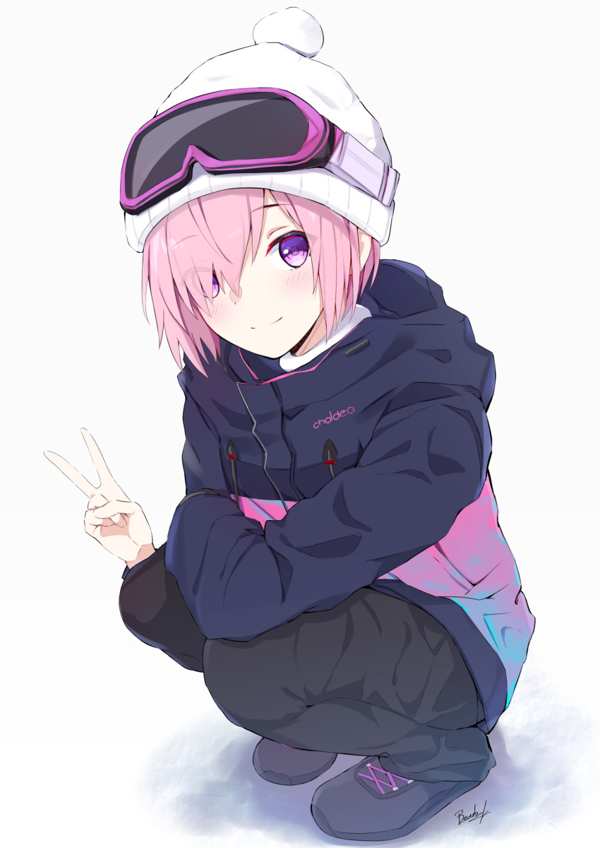 1girl absurdres bangs beanie bee_doushi black_footwear black_pants blush closed_mouth commentary_request eyebrows_visible_through_hair eyes_visible_through_hair fate/grand_order fate_(series) full_body goggles goggles_on_headwear grey_background hair_over_one_eye hat highres jacket long_sleeves looking_at_viewer mash_kyrielight pants pink_hair pink_jacket short_hair signature ski_goggles smile solo squatting v violet_eyes white_hat