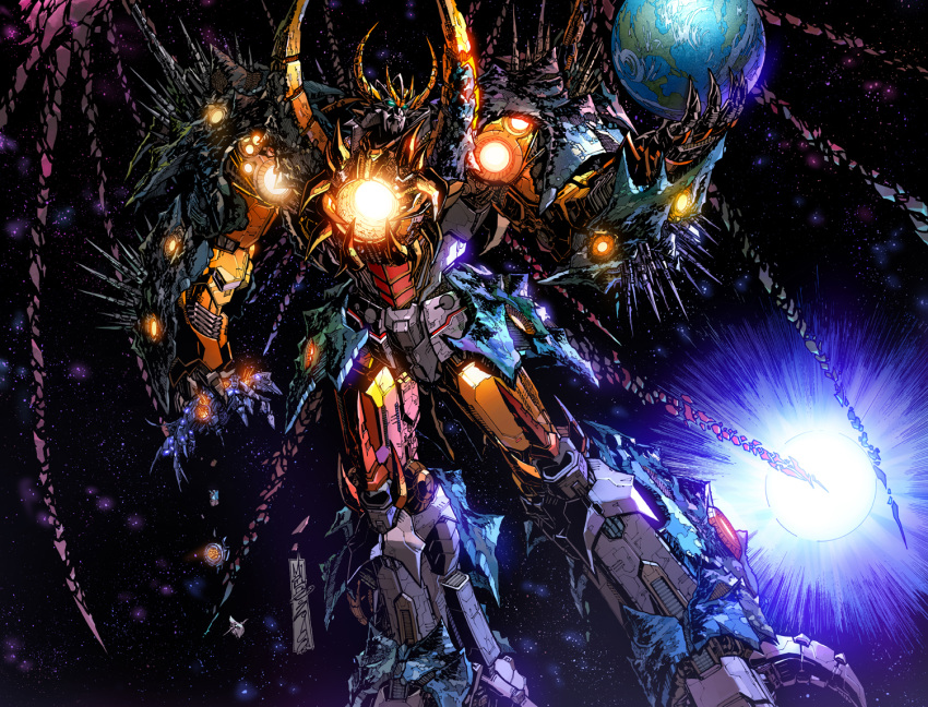 1boy alex_milne alien claws commentary earth galaxy glowing glowing_eyes green_eyes horns large_wings male_focus mecha no_humans official_art oldschool planet robot science_fiction solo solo_focus space star sun the_transformers_(idw) transformers unicron weapon wings