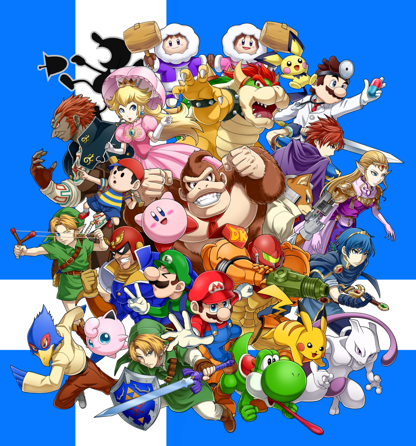 >_< 4girls 6+boys :d absurdres baseball_cap black_eyes blonde_hair blue_background blue_eyes blue_overalls blue_shorts blush bowser brown_hair brown_pants captain_falcon claws clenched_hand commentary_request creature creatures_(company) donkey_kong donkey_kong_(series) dr._mario dr._mario_(game) dual_persona f-zero facial_hair falco_lombardi fox_mccloud furry game_freak ganondorf gen_1_pokemon gen_2_pokemon gloves green_hat grin gun hammer hat helmet highres holding holding_baseball_bat holding_gun holding_hammer holding_sword holding_umbrella holding_weapon horns hoshi_no_kirby ice_climber ice_climbers jigglypuff kamakiri kirby kirby_(series) labcoat legendary_pokemon legs_apart link long_sleeves looking_at_viewer looking_away luigi male_focus mario mario_(series) marth metroid mewtwo mother_(game) mother_2 mr._game_&_watch multiple_boys multiple_girls muscle mustache necktie ness nintendo open_mouth overalls pants pichu pikachu pointing pokemon pokemon_(creature) power_armor princess_peach princess_zelda project_m red_footwear red_hat red_neckwear roy_(fire_emblem) samus_aran sharp_teeth shield shirt shoelaces shoes short_sleeves shorts sideways_hat slingshot smile sneakers star_fox striped striped_shirt super_smash_bros. super_smash_bros_melee sword teeth the_legend_of_zelda the_legend_of_zelda:_ocarina_of_time tongue tongue_out umbrella v weapon white_gloves white_pants winter_clothes yoshi young_link