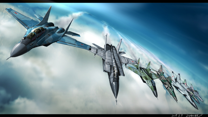 aircraft airplane blue_sky clouds fighter_jet highres jet mig-17 mig-21 mig-23 mig-25 mig-29 mig-31 military military_vehicle original sky zephyr164