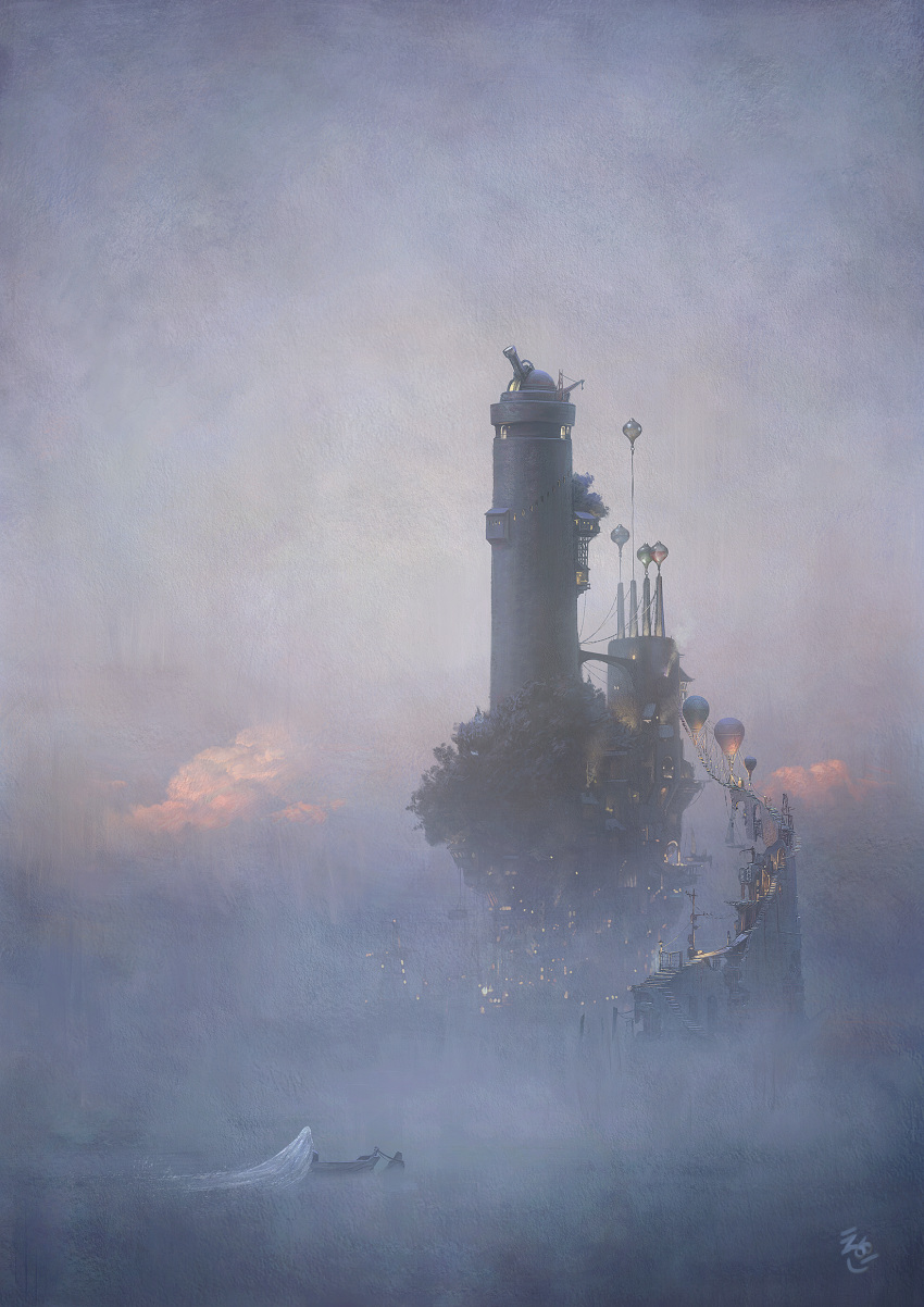 2others absurdres ag+_(atelieriji) aircraft ambiguous_gender artist_logo boat bridge building clouds commentary_request fog highres hot_air_balloon light morning multiple_others observatory original outdoors scenery sky stairs telescope tower water watercraft