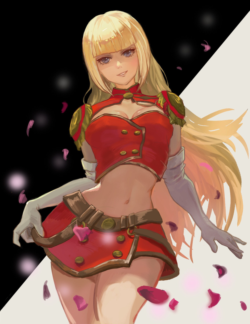 1girl alternate_costume belt blonde_hair blue_eyes breasts cleavage cleavage_cutout crop_top elbow_gloves epaulettes gloves highres hime_cut lili_(tekken) long_hair looking_at_viewer medium_breasts navel petals red_skirt rei1028 skirt slender_waist solo standing tekken thighs white_gloves
