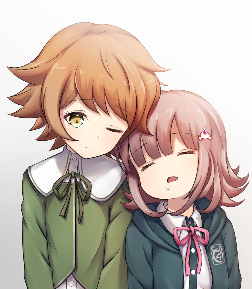 1girl age_difference brown_eyes brown_hair child commentary_request crossdressing danganronpa danganronpa_1 dot_nose eyebrows_visible_through_hair flipped_hair fujisaki_chihiro green_neckwear green_ribbon green_shirt hair_ornament hairclip highres hood hoodie leaning leaning_on_person nanami_chiaki one_eye_closed open_mouth otoko_no_ko pink_hair pink_neckwear pink_ribbon ribbon saliva school_uniform shirt short_hair simple_background sleeping smile super_danganronpa_2 upper_body white_background white_shirt y3010607